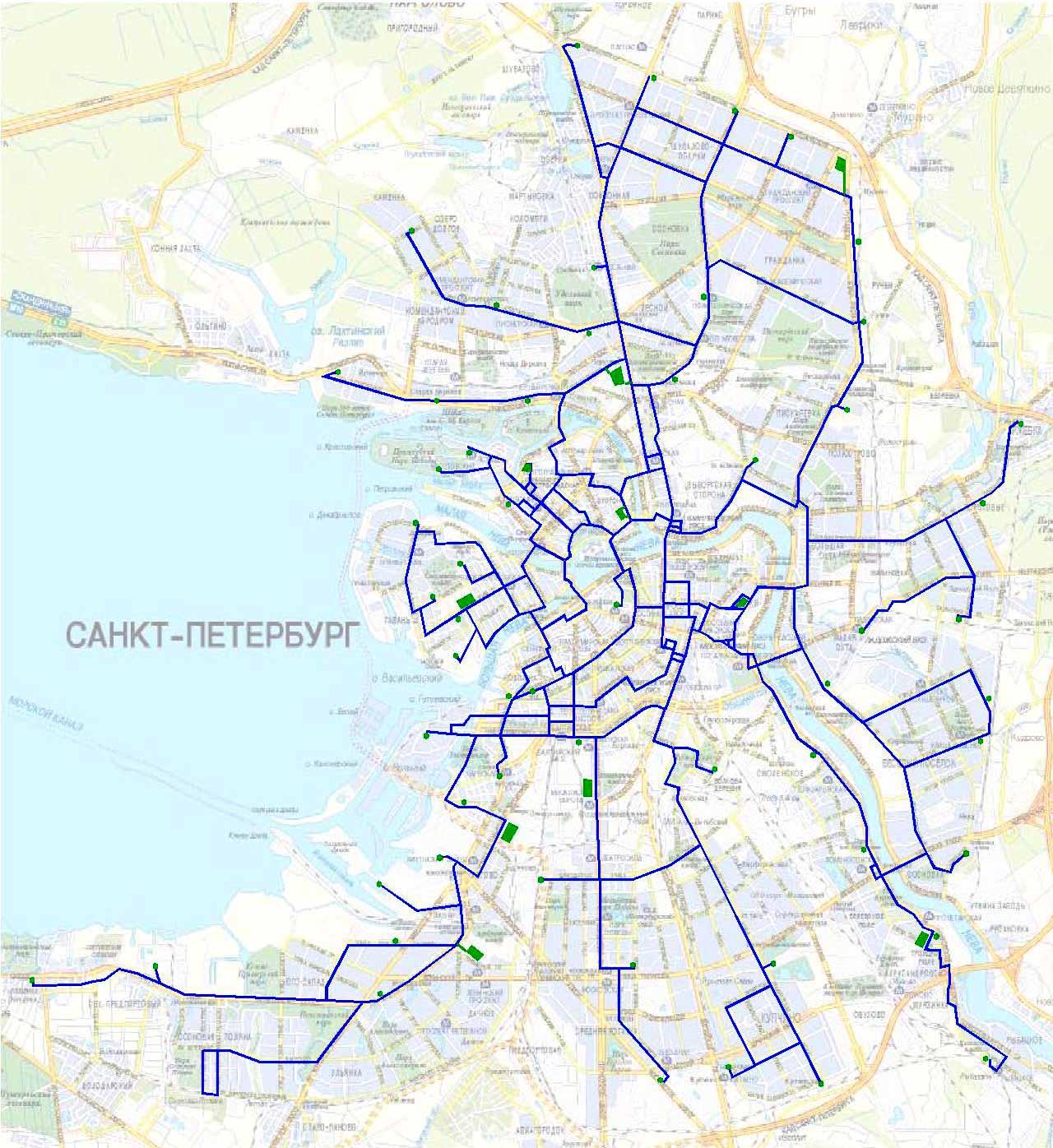 Схема движения трамвая 16 в санкт-петербурге